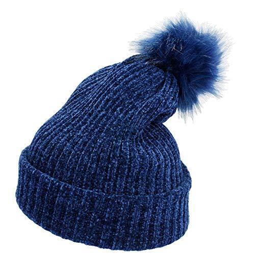 moonsix Women's Winter Pom Pom Beanie Hat Chunky Baggy Knit Hats Warm Slouchy Ski Cap Navy Blue