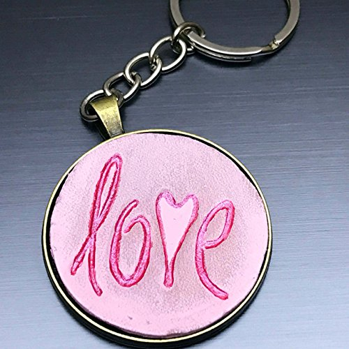 [Pink Love Knot Round Hand-Painted Tooled Veg Tanned Leather Keychain] (Goddess Of Romance Adult Costumes)