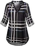SeSe Code Petite Blouses for Women Ladies 3/4 Sleeve Casual Top Check Tunic Lightweight Fashion High Low Business Fitting Pleated Flared Bottom Henley Shirt Gray and Black L