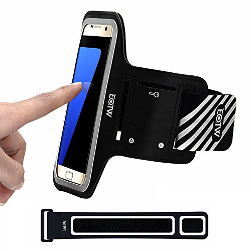 EOTW Sportarmband Handyhülle universell passend für Samsung Galaxy S7/S6/S5, Ideal für Sport, Freizeit aber auch in der Arbeit praktisch zu verwenden (5,1 Zoll, Schwarz)
