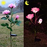 Homeleo Outdoor Solar Garden Stake Lights, Solar Powered Rose Flower Lights for Garden Back Yard Patio Decoration - Pink