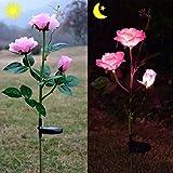 Homeleo Outdoor Solar Garden Stake Lights, Solar Powered Rose Flower Lights for Garden Back Yard Patio Decoration - Pink