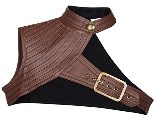 Suri Store Vintage Black &Brown Leather Collar Jacket Burlesque Steampunk Plus Size Gothic Halter Bolero Short Coat]()