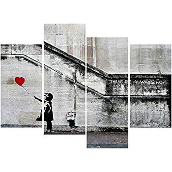 Pyradecor Banksy Grafitti Girl with Red Balloon Large 4 Panels Modern Stretched and Framed Giclee Canvas Prints Artwork Grey Love Pictures Paintings on Canvas Wall Art for Office Home Decorations L