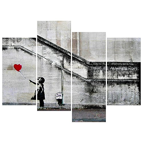 5f95c212e Pyradecor Banksy Grafitti Girl with Red Balloon Large 4 Panels Modern  Stretched and Framed Giclee Canvas