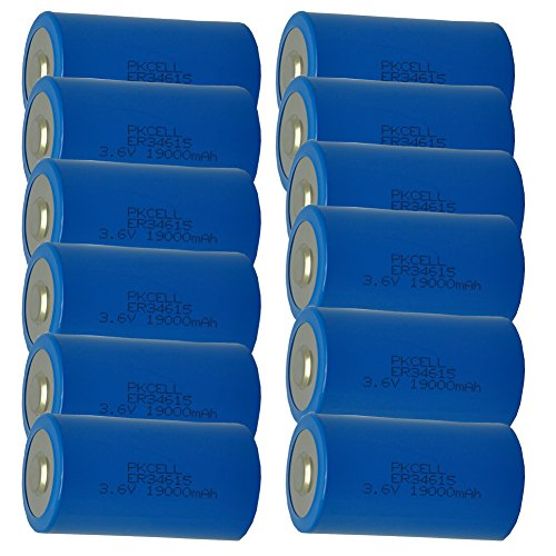3.6V D 19000mAh ER34615 19Ah Li-Socl2 Non Rechargeable Lithium Battery 12PC by PK Cell