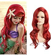SARLA Girls Red Wig Long Curly Wavy Mermaid Wig Synthetic 24 Inch for Cosplay Party Halloween Cos...