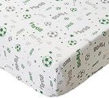 Bacati Soccer Muslin Set of 2 Piece Crib Sheets, Green/Grey