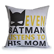 Amore Beaute Handmade Customizable Throw Pillow Cover with Message Even Batman Listens to His Mom Kids Room Decor Nursery Decor Birthday Christmas New Years Gift Linen Pillowcase