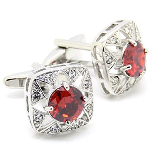 Round Crystal Cufflinks (MRCUFF Red Round Crystal Square Cufflinks Pair in a Presentation Gift Box & Polishing Cloth)