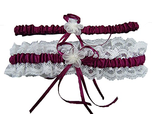 2 Piece Satin Garter (Women's Vintage Wedding Accessories Bowknot Lace Satin 2 Piece Sets Bridal Garters Burgundy)