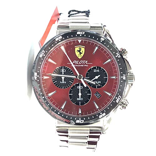 Ferrari Men's Pilota Quartz Stainless Steel and Bracelet Casual Watch, Color: Silver (Model: 830619) ()