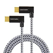USB Type C Cable, CableCreation 4 Feet Dual Right Angle USB-C to USB-C Braided Cable, for New Macbook(Pro),Nintendo Switch, Nexus 5X/6P & New USB-C Devices,1.2M/ Black & White with Aluminum Case