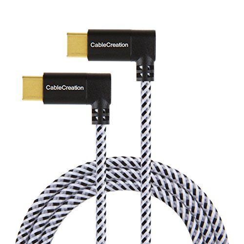 USB Type C Cable, CableCreation 4 ft Dual Right Angle(90 Degree) USB-C to USB-C Braided Cable, Compatible New MacBook(Pro),Nintendo Switch & New USB-C Devices,1.2M/ Black & White with Aluminum Case