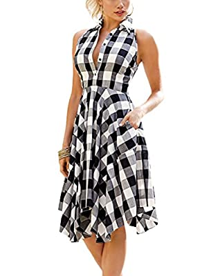 Women Classic Plaid Pleated Summer Sleeveless Casual Shirt Dress with Pockets