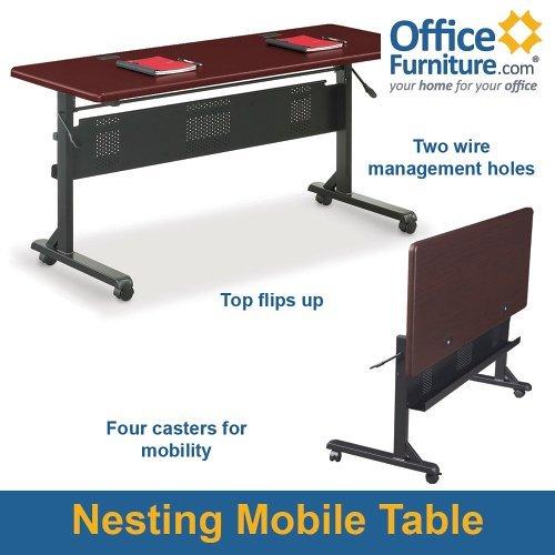 Balt Flipper Table Collection Teak Mobile Flip-Top Table with Black Frame - 60