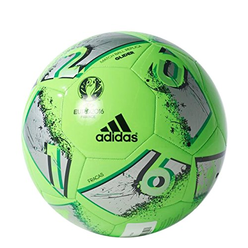 adidas Performance Euro 16 Glider Soccer Ball, Solar Green/Silver Metallic/Dark Grey, Size 3