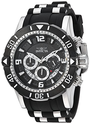 Invicta Men's Pro Diver Stainless Steel Quartz Diving Watch with Polyurethane Strap, Black, 26 (Model: 23696) ()