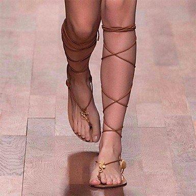 SHOES-XJIH&Uomini sandali estivi Casual in pelle tacco piatto altri nero giallo kaki altri,Black,US10 / EU43 / UK9 / CN44