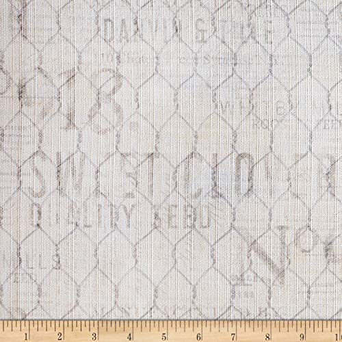 Springs Creative Products Susan Winget Farmhouse Rooster Chicken Wire Basketweave Gray Fabric by The Yard,