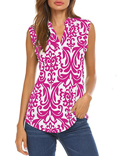 (Halife Women's Sleeveless Floral Print V Neck Henley Tank Tops Blouse Shirts Tunic (XXL, Rose))