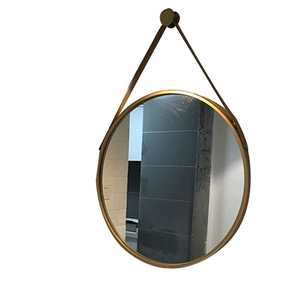 gold 50CM Selm Vintage Mirrors Wall Hanging,Round Wall Mirror Modern Metal Framed Mirror Decorative Hanging Vanity Mirror for Bedroom Bathroom and Living Room (color   gold, Size   50CM)