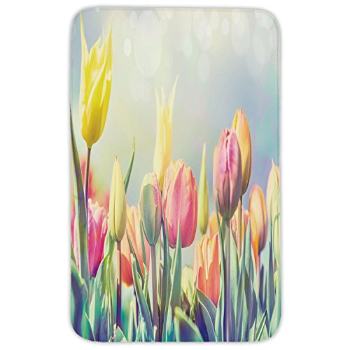Rectangular Area Rug Mat Rug,Pastel,Tulips Flower Bed in Park Serene Landscape Happiness Fresh Spring Environment Image Decorative,Multicolor,Home Decor Mat with Non Slip Backing by iPrint
