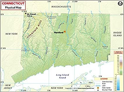 Amazon.com : Connecticut Physical Map (36\