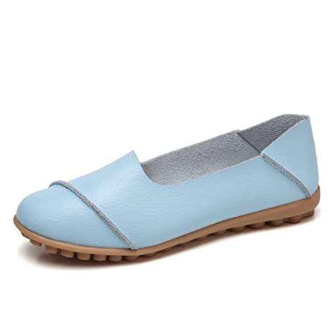 9fffc4695a94d Amazon.com: York Zhu Basic Ballet Flats Shoes Women Leather Flat ...