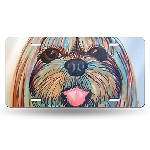 (Shih Tzu Head Baby Dog Pupy Women Themed Printed License Plates for Front of Car Tags Accessories Decorations Women Men Girls Ornament Items Merchandise Supplies Gifts)
