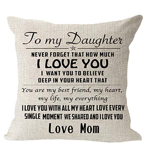 to My Daughter Never Forget That How Much I Love You Mom Cotton Linen Square Throw Waist Pillow Case Decorative Cushion Cover Pillowcase Sofa 18