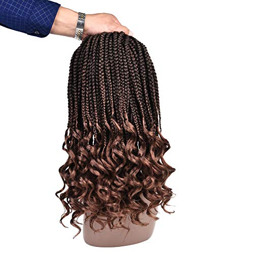 Refined Hair 6Packs 14Inch 3S Wavy Box Braids Crochet Braid Hair Extensions 22roots Ombre Kanekalon Synthetic Goddess Box Braids With Wavy Free End Crochet Braids (14inch, T30)