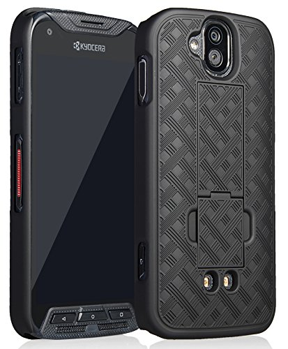 DuraForce Pro Case/Cover, Nakedcellphone Black Kickstand Case Slim Hard Shell Cover for Kyocera Duraforce Pro (E6810, E6820, E6830, E6833, E6800) (AT&T, Sprint, Verizon, etc)