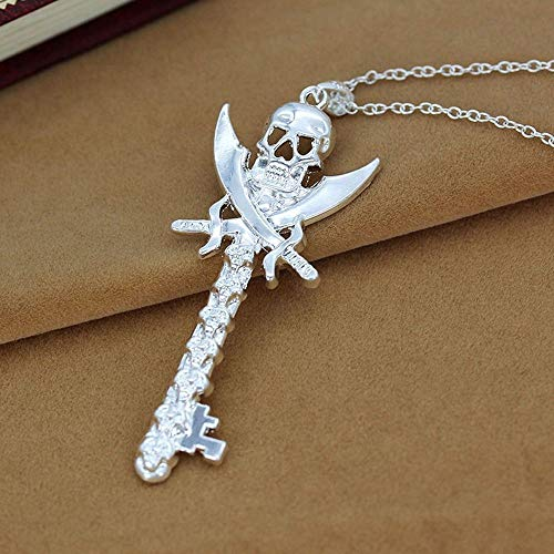 - Women Charm Silver Skull Key Design Punk Styles Pendant Necklace Jewelry Gifts