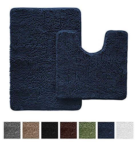 Gorilla Grip Original Shaggy Chenille Bathroom 2 Piece Rug Set Includes Mat Contoured for Toilet and 30 x 20 Carpet Rugs, Machine Wash/Dry, Perfect Plush Mats for Tub, Shower, and Bath Room (Navy)