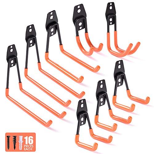 WOLFWILL 8 Pack Heavy Duty Garage Storage Utility Double Hooks - Anti-Slip Coating Wall Mount Hanger & Organizer with Screws
