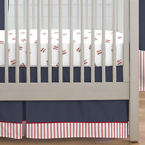 Carousel Designs Navy and Red Stripe Crib Skirt Single-Pleat 17-Inch Length