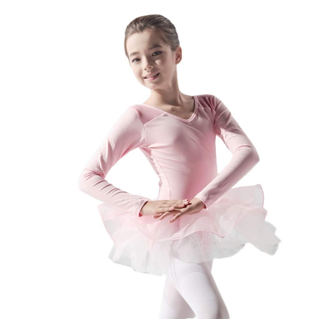 A Height140-150 Jian E& VêteHommests de Danse de Ballet pour Enfants Filles pratiquent des vêteHommests de Treillis en Gaze dans la Robe de Jupe L Combinaison