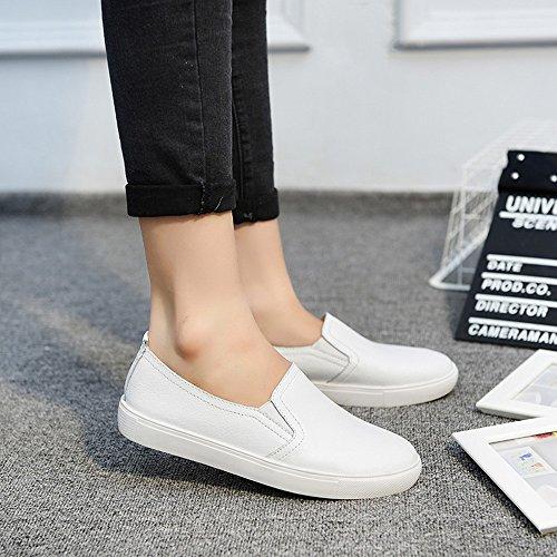 Cuir Chaussures pour en Plates Blanc Mocassins Chaussures Blanches Bateau Sunnywill Décontractées Femmes q7wETnC