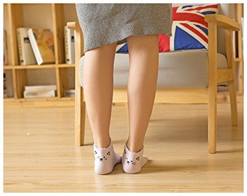 Generic Meng fitted with three pairs of animals fall bear cat cartoon toe socks toe socks toe socks in tube by Generic (Image #2)