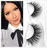 Lashes Soft Thin Natural Style Mink 3D lashes Strip 100% Siberian Fur Fake Eyelashes Hand-made False Eyelash 1 Pair Package Miss Kiss (3D01)