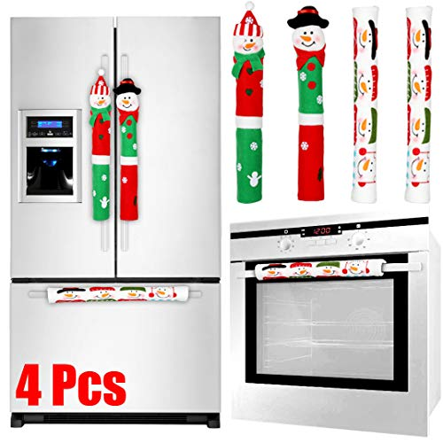 Tonak Refrigerator Handle Covers Christmas Decorations for Kitchen Appliance Oven Door Handle Xmas Decor Ornaments Snowman Set of 4 (Christmas Sales After Appliance)