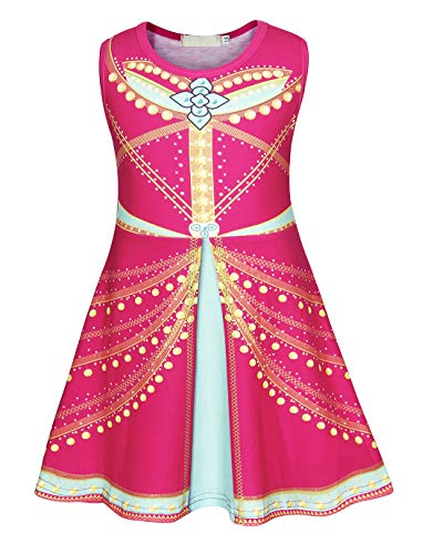 Arabian Party Dress (HenzWorld Princess Jasmine Dress Up Costumes Halloween Party Fancy Dresses Sleeveless Red 3-4)