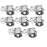 """Nadair CP734L-8BN 8 Pack 3"""" LED Swivel Dimmable Downlight Spotlight Lumens Lightbulb (50W Equivalent), Ic Rated"""