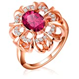 sankmi Jewelry Ring, 18K Rose Gold Plated Flower Ring with Red Stone Wedding Ring for Girls Women Size 7