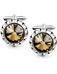 Mulit-Colors Crystal Cuff Links and Studs Set for Mens Tuxedo Shrit Wedding Accessories