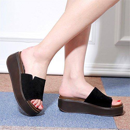 Summer Lady Pantoufles Mode extérieur Porter des Chaussures à Talons Hauts antidérapant Plate-Forme Imperméable à l'eau Cool MOP, Gray, 39
