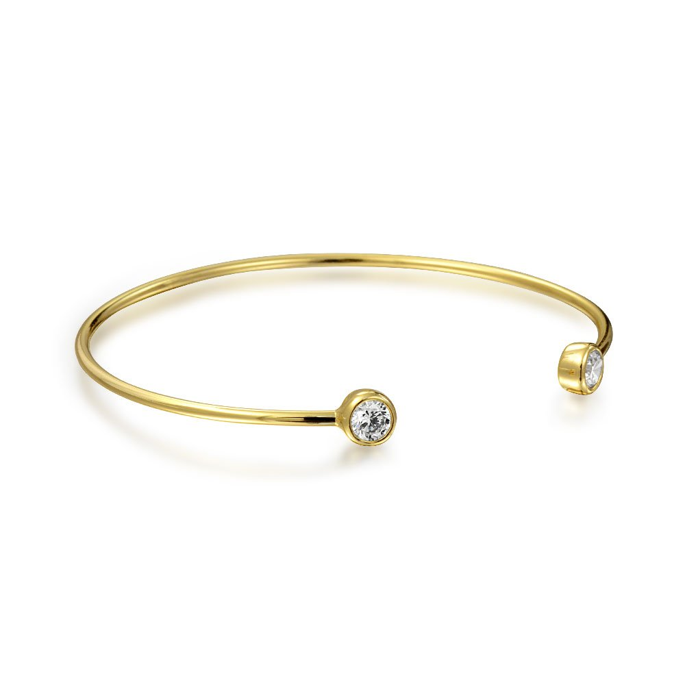 b393dbf89ae7 Amazon.com: Delicate Thin Cubic Zirconia Bezel Set Tip Bangle Cuff Bracelet  For Women For Teens 14K Gold Plated 925 Sterling Silver: Jewelry