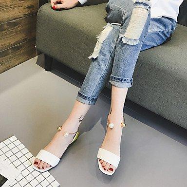 LvYuan Mujer Sandalias PU Verano Paseo Hebilla Talón de bloque Blanco Negro Menos de 2'5 cms Black
