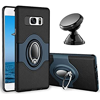 eSamcore Samsung Galaxy S7 Case Ring Holder Kickstand Cases + Dashboard Magnetic Phone Car Mount [Navy Blue]